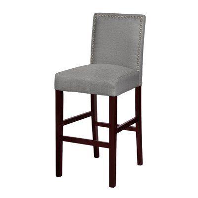 Charlton Home Vasquez 29 Bar Stool Upholstery Gray Bar Stools