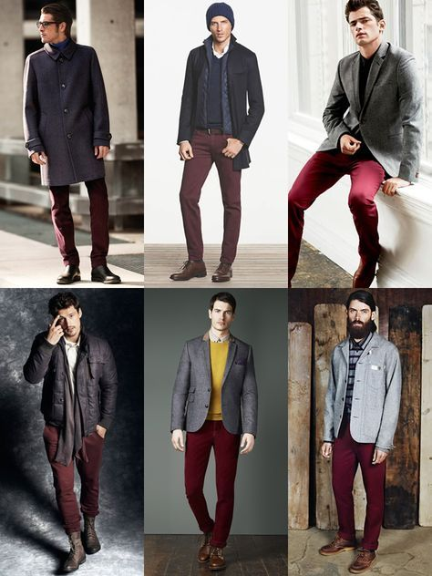 b4fae8935436 Men's Burgundy Trousers/Chinos Outfit Inspiration Lookbook ...