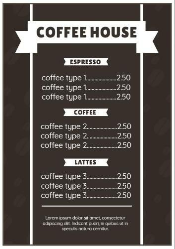 A Transparent Image Of Coffee Beans In The Background And White Font To Make It Easy To Read Create Your Own Cafe Menu T Cafe Menu Coffee Images Menu Template