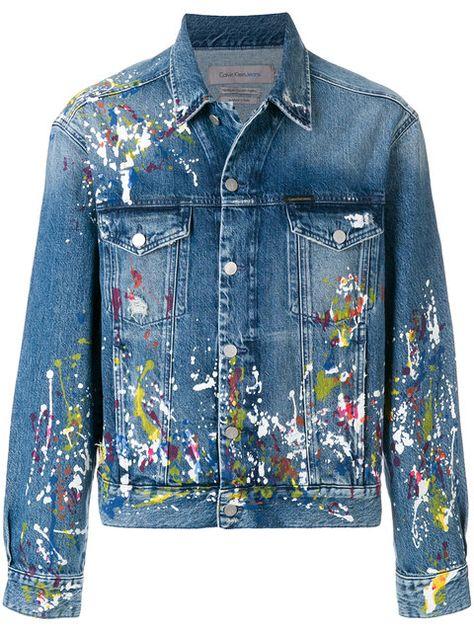 Calvin Klein Jeans paint splatter denim jacket