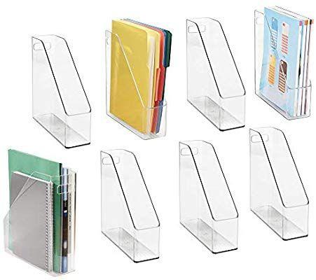 Amazon Com Mdesign Plastic File Folder Bin Storage Organizer Vertical With Handle Holds Desk Organization Office Magazine File Holders Desk Organization