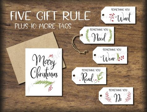 5 Gift Rule Tags & Christmas Card. 4 Gift Rule Instant download printable. Five Four. Him her child