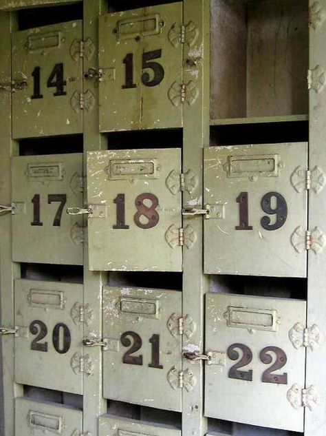 love: antique lockers for office storage space and visual appeal
