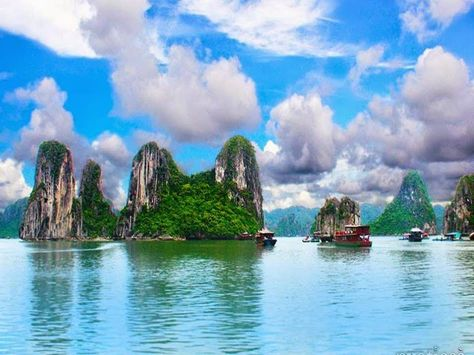 Halong Bay (Vietnam) World Heritage Site, located in Quang Ninh. The bay features thousands of limestone karsts and islands of various sizes and shapes. Ha Long Bay is the center of a wider area that includes Bai Tu Long Bay, northeast, and Cat Ba islands to the southwest. These larger zones share similar geological, geographical, geomorphological climate, and cultural characters. It has an area of about 1,553 km2, including some 2,000 islets. The core of the bay has an area of 334 km2…