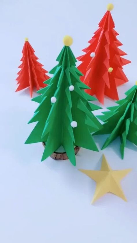 Use colored paper to make the Christmas tree. Follow us, get more exciting and the idea.