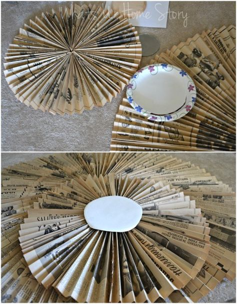 How to make a newspaper wreath, DIY paper accordion wall hanging