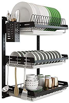 Amazon Com Hanging Dish Drying Rack Wall Mount 3 Tier Junyuan
