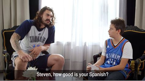 Ahead of Monday's #NBAGlobalGames in Madrid, Steven Adams sat down for an exclusive interview with local Oklahoma City Thunder superfan, Guillermo!