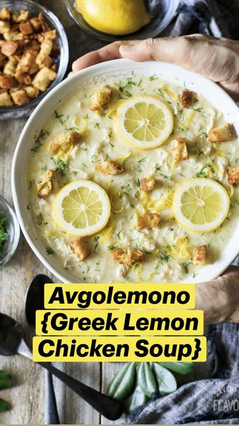 Avgolemono {Greek Lemon Chicken Soup}