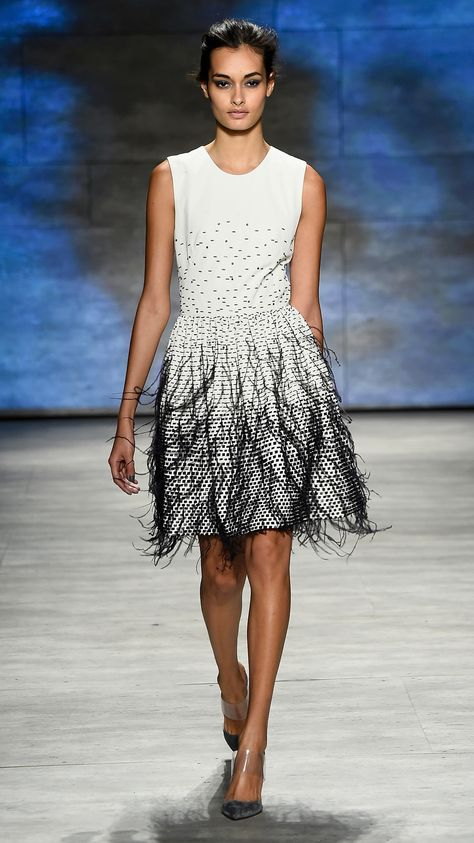 Feathered | Lela Rose Fall/Winter 2015�One of the more subtle looks that incorporated feathers, this Lela Rose dress might be the most wearable. via @stylelist