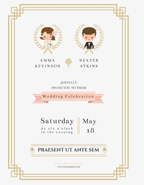 The Bride And Groom Wedding Invitation Vector Wedding