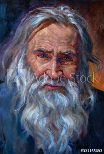 Oil On Canvas Of An Old Man With A Beard And White Hair Ad Affiliate Man Canvas Oil Hair White In 2020 Oil On Canvas Stock Illustration White Hair