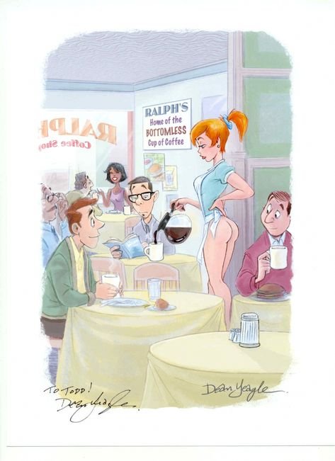 Playboy Aug, 2005 Bottomless Coffee pot Comic Art One More Cup - k chenblock 270 cm