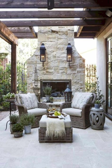 An outdoor fireplace design on your deck, patio or backyard living room instantly makes a perfect place for entertaining, creating a dramatic focal point. Rustic Outdoor, Outdoor Seating, Outdoor Rooms, Outdoor Living, Outdoor Decor, Garden Seating, Outdoor Kitchens, Outdoor Ideas, French Country Living Room