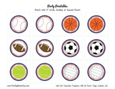 Free Printable Sports Balls Cupcake Toppers Laminate And Use For Bulletin Board Border Sports Birthday Sports Birthday Party Party Printables Free