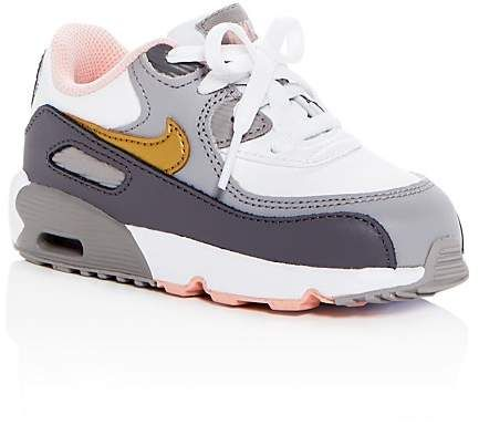 new product 47352 38d16 Nike Girls Air Max 90 Color-Block Leather Lace Up Sneakers - Walker,  Toddler