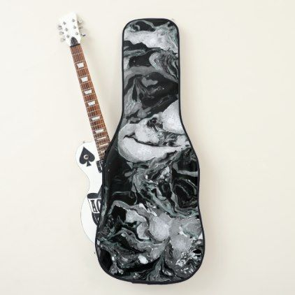 Black And White Marble Texture Liquid Paint Art Guitar Case