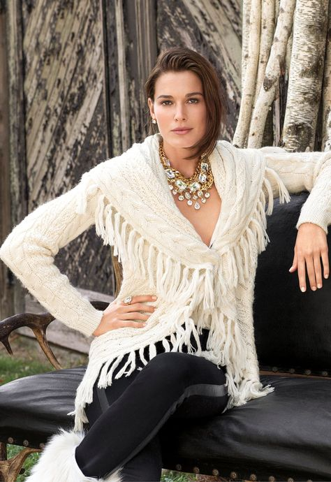 Lauren Ralph Lauren: the perfect winter white fringed wrap cardigan to keep you warm and stylish all season long.