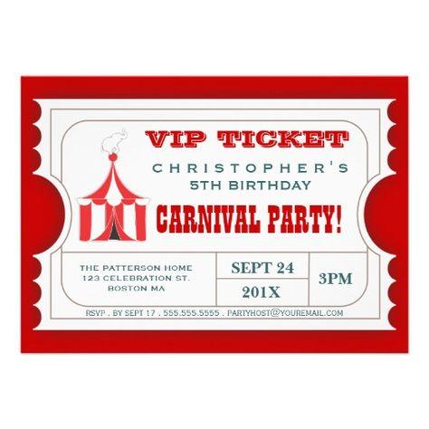 Circus Carnival Ticket Invitation