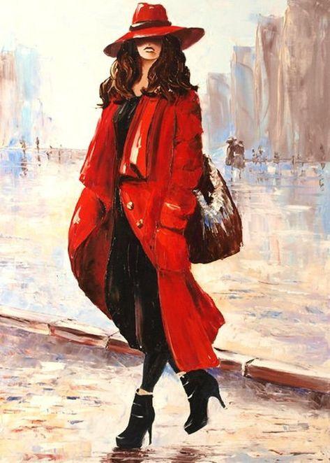 Картина на холсте Женщина в красном пальто | Картины ...