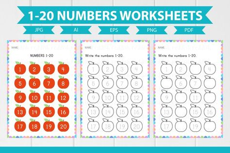 3 Numbers English Worksheets A4 size (1014332) | Educational | Design Bundles