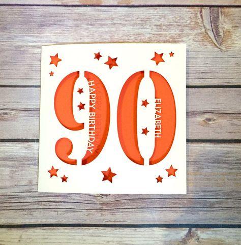 Personalised 90th Birthday Card Dad Mum Ninety Happy Gift Handmade Lasercut