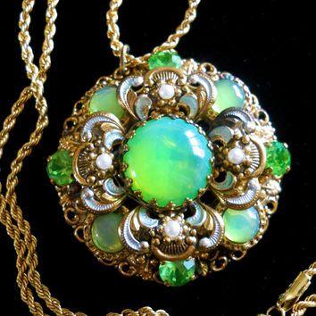 Vaseline Uranium Glass Filigree Necklace Filigree Necklaces Jewelry Vintage Jewelry