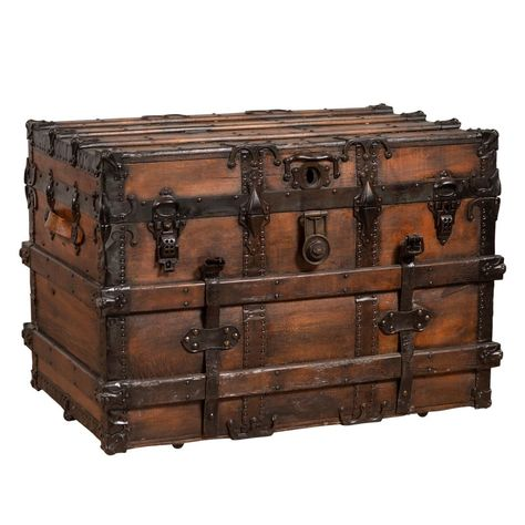 Antique Indonesian Travel Treasure Chest With Brown Patina And