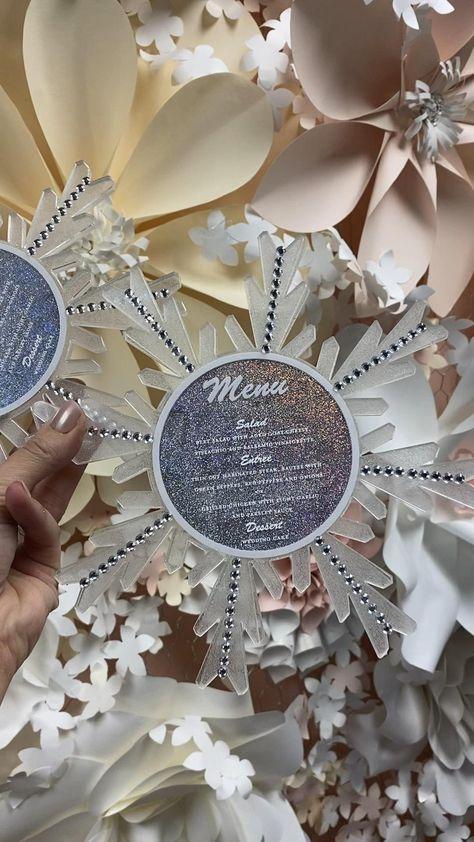 Quince Invitations, Frozen Birthday Invitations, Box Wedding Invitations, Sweet 16 Invitations, Card Box Wedding, Wedding Menu, Wedding Ideas, Winter Wonderland Decorations, Winter Wonderland Birthday