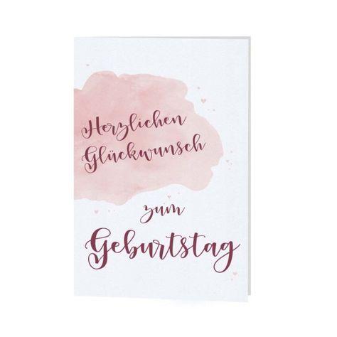 Gluckwunschkarte Zum Geburtstag In Weiss Mit Rosa Aquarelldruck