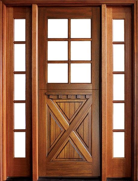 Craftsman Mahogany Crossbuck 6 Lite Square Single Door 2sidelite Exterior Wood Entry Doors Single Doors Wood Front Entry Doors