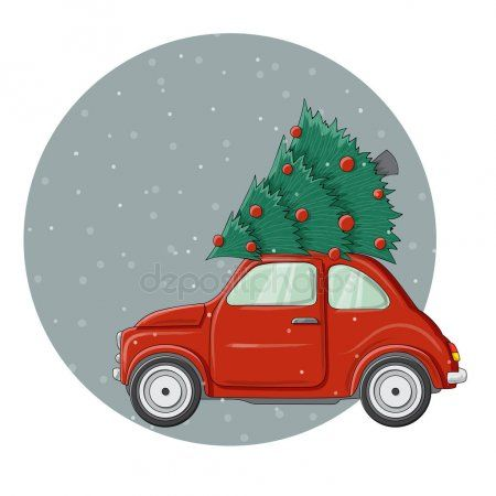 Kleine Rode Bug Auto Met Grote Kerstboom Pine Bovenop Vectorillustratie Met Cartoon Tekenen Stijl Ronde Achtergrond Frame M Kleine Kerstbomen Auto Kerstboom