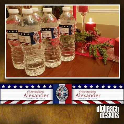 Eagle Scout Court of Honor Water Bottle Label: Patriotic Flag - Digital File