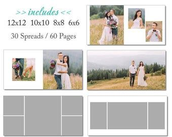 Sale 10x10 Whcc Album Template 60 Page Includes 12x12 Etsy Layflat Album Photoshop Template Album