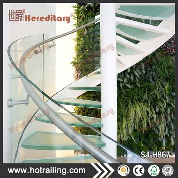 Outdoors Stainless Steel Spiral Glass Stairs For Sale In