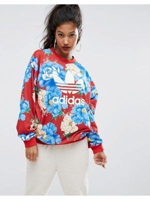 Adidas adidas Originals Farm Big Floral Print Sweatshirt