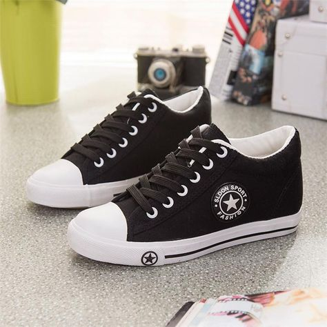 07e0b8d89e7d Summer Sneakers Wedges Canvas Women Casual Shoes White Basket Stars ...