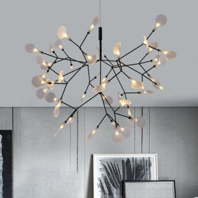 Nordic Style Heracleum Ii Chandelier 30 45 63 Light 9 15 20w High Bright Home Decorative Led Firefly Pendant Lights In Black Finish Bright Homes Acrylic Chandelier Modern Chandelier