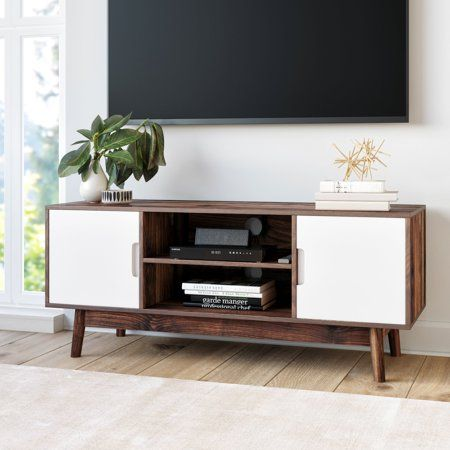 Nathan James Wesley Scandinavian Tv Stand Media Console With Brown Frame And White Cabinet Doors Walmart Com In 2020 Scandinavian Tv Stand Living Room Furniture Modern Furniture Living Room