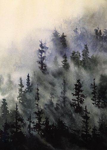 Misty Mountain By David Smith 15 X 11 Watercolor Landscape Paintings Landscape Paintings Landscape Illustration