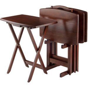 Attirant Snack Table Set Oversize TV Tray Dinner Serving Portable Folding Wood 5 Pcs  New