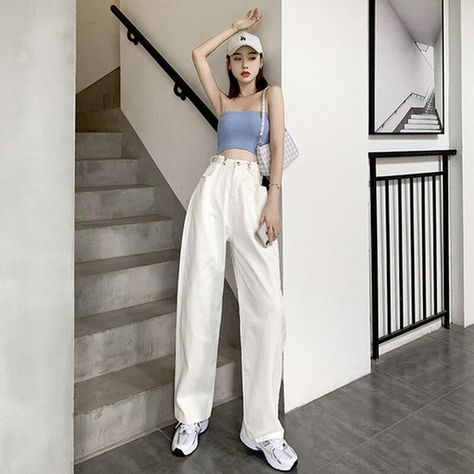 Wide-leg Solid White Straight-leg Pants Loose Woman Jeans Autumn Button High-waist Denim Pleated Mopping Trousers Old Pant 11477 - White / L