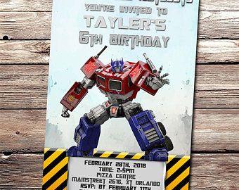 Optimus Prime Birthday Invitation Card Transformers Optimu Prime Invite Birthday Invitations Birthday Invitation Card Template Party Invitations Printable