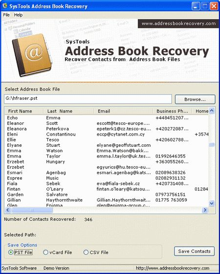 free address book recovery software software downloads at winpcworld