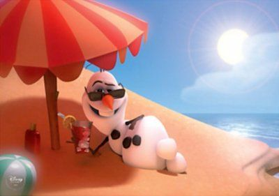 Olaf the snowman sunbathing on a beach lithograph from our Other collection |  Disney collectibles and memorabilia