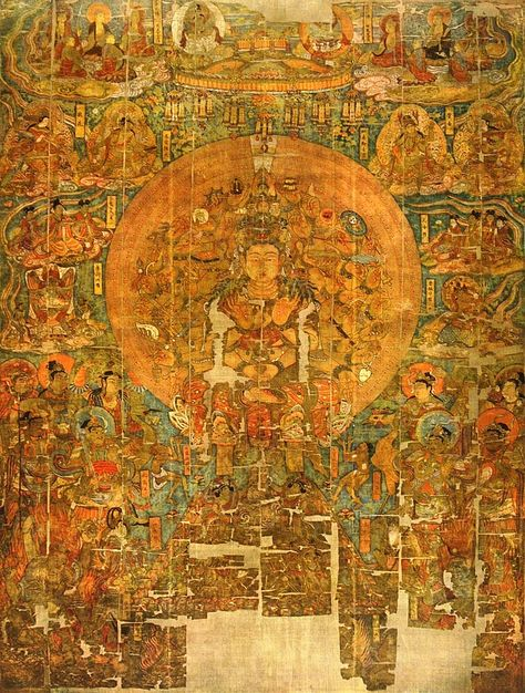 avalokiteshvara     Forrás: Ezer Buddha nyomatok (Cat. Stein LHAS Photo 44.6) Színes nyomatok Stein: The Thousand Buddhas. Ancient Buddhist paintings from the cave temples of Tun-huang on the western frontier of China c. művéhez. (London, 1921)