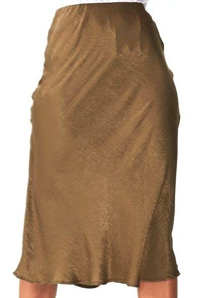 Woven Belle Bias Midi Skirt Colour olive elasticated Product Details