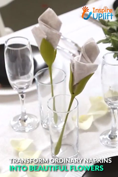 Flower Napkin Holders 😍  Our Flower Napkin Holders are shaped to look like long, lovely floral stems and turn ordinary napkins into blossoming flowers! Transform a regular napkin into a stunning rose, tulip or amaryllis in seconds by simply twisting a napkin and attaching it to the stem-like napkin holder. They're guaranteed to impress your guests!  Currently 50% OFF with FREE Shipping!