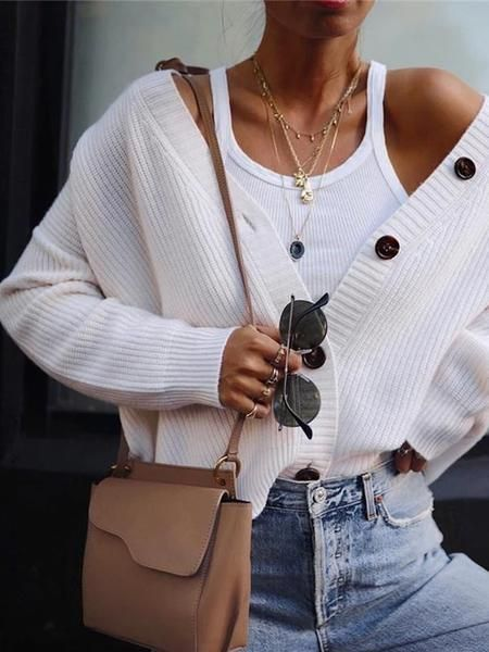 Casual Solid Color Button Knit Cardigan – linenlooks cardigans casual,cardigans on dresses,cardigans for women,cardigans outfit #cardigans #cardigansforwomen #cardigansforwomencasual #cuteoutfitswithcardigans
