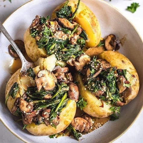 Stuffed Baked Potatoes with Mushroom and Spinach: VeganFood